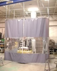 Movable divider curtain using industrial Roll TRAC